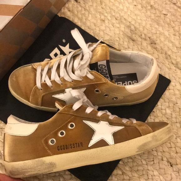 fb68fa9bfa1da Golden Goose Shoes - Golden Goose Gold Velvet Sneakers Size 38